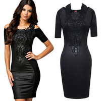 Bandage Dress spring 2014 Women Elegant Embroidery Bodycon Dresses New Fashion Patchwork Autumn Casual 2014 Bandage Dress
