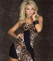 Wholesale women Sexy leopard grain strapless /ladies patchwork Bodycon Clubwear Package hip dress