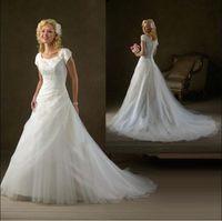 Modest lace  Wedding Dress Short Sleeves Custom