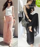 2014 summer female straight pants chiffon skirt pants trousers wide leg pants high waist trousers chiffon skorts stockings pants