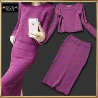 Elegant professional women set slim elegant small knitted fashion slim hip skirt female