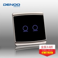 Free Shipping Dano02 Electrical wall light switch waterproof touch switches Smart Home Luxury Black LED Panel 2 gang/1 way