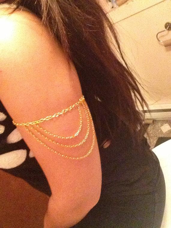 2014 Hot Popular Fashion Women Necklace Rhinestone Metal Body Chain Jewelry Punk Shawl Silver or Gold chain,Arm chain(China (Mainland))