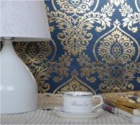2014new decorative waterproof gold foil PVC wallpaper bedroom 3d royal wallpaper damask design economic glitter wall covering