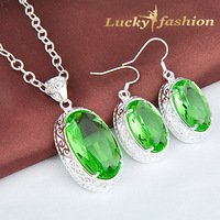 Fashion Luxury Green Quartz Color 925 silver Round Dangle Green Crystal Earrings & Pendant Jewelry Set for Women Z0111