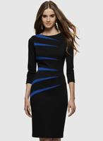 Free shipping 2014 OL outfit elegant blue black slim hip 1082 one-piece dress