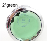 portable pocket fodable two-sided mirror crystal fahsion Compact hand Cosmetic Make Up CN post