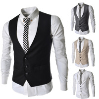 2014 New Arrival Spring Top Brand Men's Slim Casual Solid Three Button Suit Vest,Free Shipping,R1402