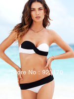 Free Shipping White black Women Top Strapless Sexy Strap Solid Bikini Swimsuit Top and Bottoms Patchwork Swimwear Y031