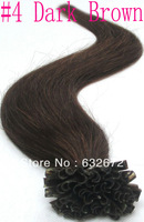 Cheap brazilian virgin hair Pre Bonded Stick I-TIP Hair Extensions #4 Dark Brown 18 20 22 24 26 28 30inch 0.7g/s Free Shipping