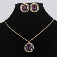 Free Shipping Noblest Women 14k Gold Filled Austrian Crystal Purple Amethyst Necklace Earring Environmental Jewelry Set GP2542