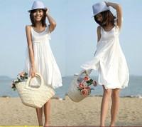 2014 summer one-piece dress beach dress sweet doll white vest one-piece dress summer women's