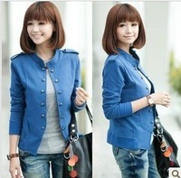 Black and blue spring 2014 jackets women plus size clothing Autumn sweater cardigan blazer short jacket coat women