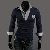 2014  spring autumn men's slim faux two piece fashion badge male long sleeve polo shirt polo shirts