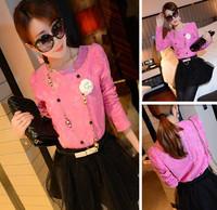 Octopussy 2014 fashion light rose crochet organza lace shirt