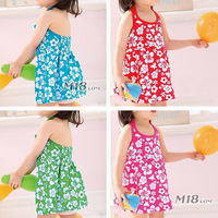 Wholesale 6 PCS/LOT 2014 summer Girls beach dress sleeveless Little Girl clothes Baby Dress Flower Cheap Discount Good Quality