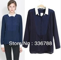 2014 Spring Women's European Fashion Dark Blue Chiffon Shirts&Blouses