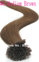 AliExpress Hot sales peruvian virgin hair  Pre Bonded Stick I-TIP Hair Extensions #6 Medium Brown 24 26 28 30inch 1g/s