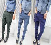 New Korea famous brand Casual Men's Clothing Hip Hop Dance drop crotch Pants male baggies thin denim harem Trousers mens jeans
