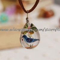 Wholesale Forest Bluebird Sided Crystal Necklace Valentine Gift xl27