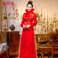 The bride married cheongsam winter 2013 red long design evening dress slim cotton-padded long-sleeve formal dress