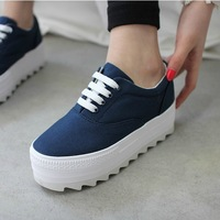 Low platform canvas shoes spring casual lacing platform shoes elevator shoes women's solid color