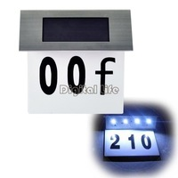 New 2014 4-Led Solar Number Plate Light Stainless Steel Solar Doorplate Solar House Wall Number Lamp Free Shipping 5738..