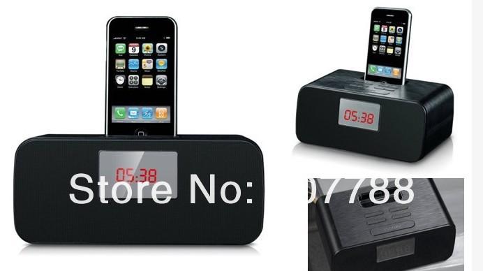 LCD Speaker FM Radio Alarm Clock Charging Docking Station For IPhone iPod, Free Shipping(China (Mainland))