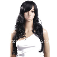"New 31"" Women Long Curly Hair Side Bang Fashion Cosplay Party Wig Black"