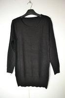 Black mercerizing wool basic sweater o-neck long design