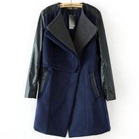 Fashion female leather overcoat