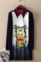 2014 spring vintage print turn-down collar long-sleeve basic slim one-piece dress female eft003