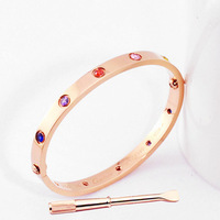 2014 new jewelry women's men Style 361L Titanium Steel Bracelet Love Bangle rose gold With Screwdriver