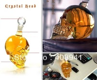 Free Shipping+Wholesale Crystal Head Vodka Skull Bottle,Glass Shot Head Skull for Red Wine Whiskey With Retail Box,30pcs/lot