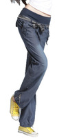 Free Shipping! 2014 Spring New arrival Female Jeans Trousers ,Women Elastic Waist Wide leg Pants Fashion Max size Slim Pant