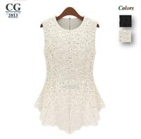 5XL Super Large 2014 New Women's Sleeveless Mini Summer Casual Dress Vestidos Lace Dresses Black/White Freeshipping#CGD016