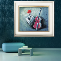 free shipping rose and violin cross stitch 3d rose cloth series