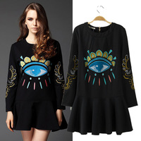 2014 women's spring fashion embroidery print pattern one-piece dress basic skirt short skirt
