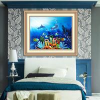 free shipping print cross stitch dolphin blue love series cloth deep ocean cross stitch