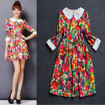 High street fashion beading collar floral print dress brand 2014