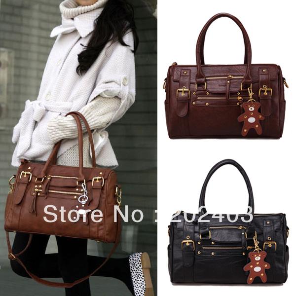 Women Ladies Fashion Korea Style PU Leather Zipper Closure Handbag