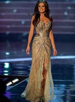 Vestido Miss Universo 2012 Summer Pageant Dresses Evening Mermaid Gold slit Crystal Beaded Lace Tulle Prom Celebrity Dresses