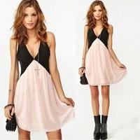 New 2014 Summer Sexy Women Clothing V-Neck Sleeveless Vest Dresses Chiffon Dress Vestidos, S, M, L, XL