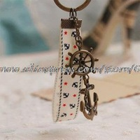 Wholesale Keychain Pirates of the Caribbean Ocean Helmsman Rudder and Anchor Key Ring Keyring ys05