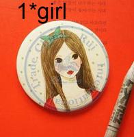 portable pocket tin mirror multi designs cute cartoon fashion Compact hand Cosmetic Make Up CN post