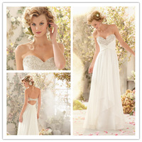 2014 A-line  Sweetheart Sleeveless Sweep Train White Chiffon Beaded Crystals Backless Simple Wedding Dresses Bridal Gown