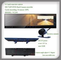 4.3 inch car rearview mirror dvr car camera video recorder gps g- sensor