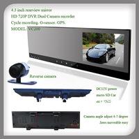 4.3 inch rearview mirror 720P HD Car Blackbox DVR Camera Loop Recording With bluetooth function
