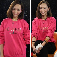 Free Shipping New 2014 Women Spring Fashion Designer FELINE Letter Print Sweatshirts, Long Sleeve Cotton Casual Hoodies 12012