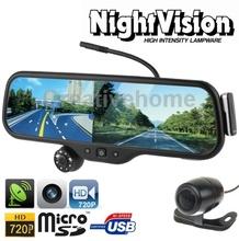 Car DVR Camera HD 720P H.264 Rearview Mirror Camera DVR G-sensor Motion Detection Night Vision 3D Imaging Navigation Bluetooth(China (Mainland))